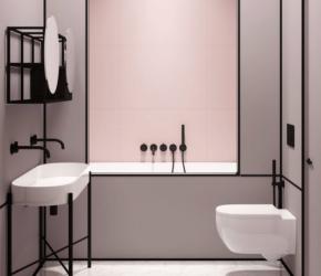 salle bain minimaliste rose noir